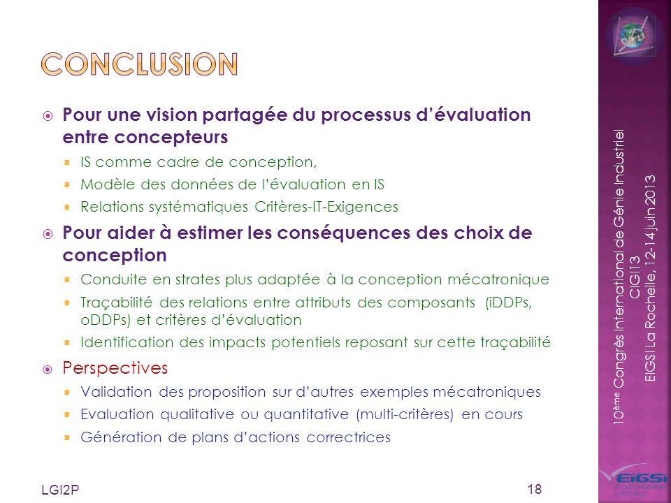 conclusion Pour une vision partagée du processus d'évaluation entre concepteurs. IS comme cadre de conception,