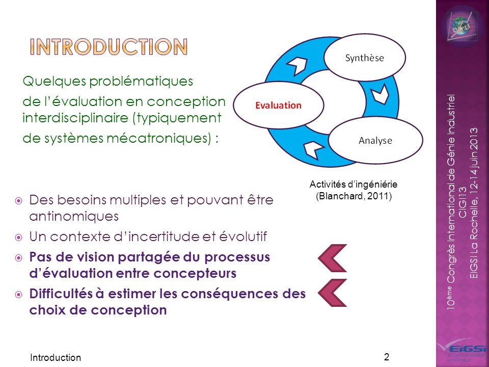 Activités d'ingéniérie (Blanchard, 2011)