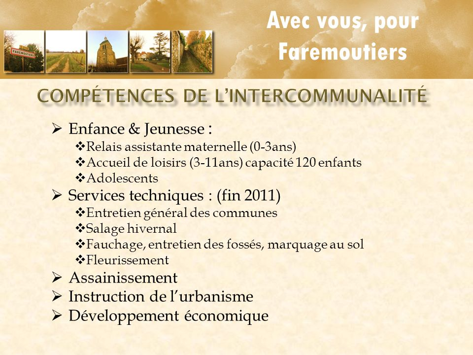 Compétences de L'intercommunalité