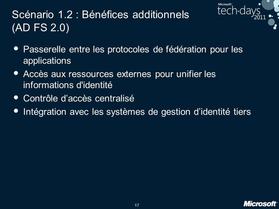 Scénario 1.2 : Bénéfices additionnels (AD FS 2.0)