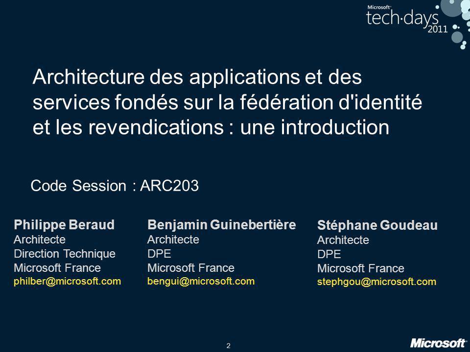 Architecture des applications et des services fondés sur la fédération d identité et les revendications : une introduction