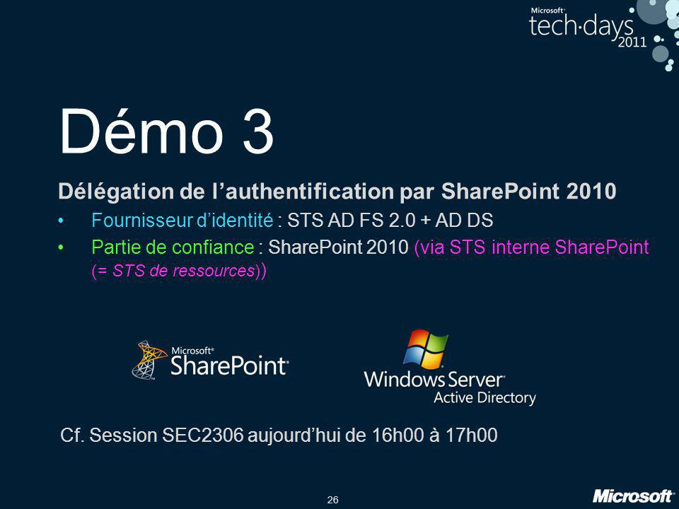 Démo 3 Délégation de l'authentification par SharePoint 2010