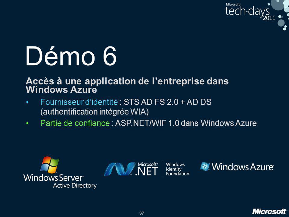 Démo 6 Accès à une application de l'entreprise dans Windows Azure
