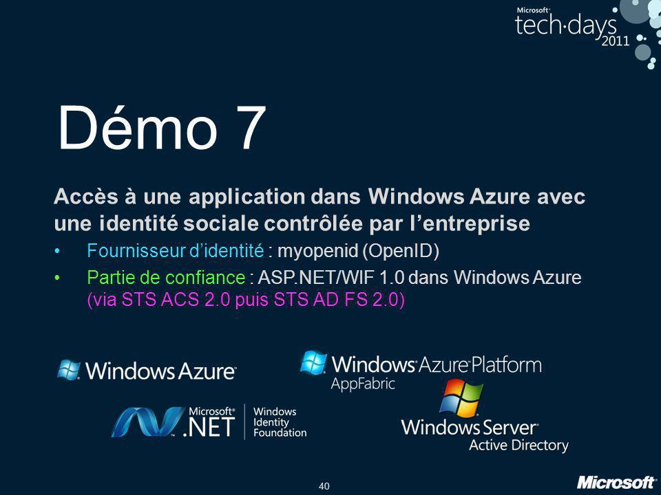 Démo 7 Accès à une application dans Windows Azure avec une identité sociale contrôlée par l'entreprise.
