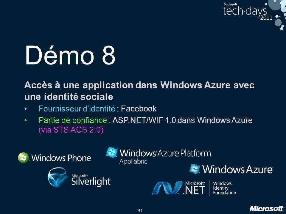 Démo 8 Accès à une application dans Windows Azure avec une identité sociale. Fournisseur d'identité : Facebook.