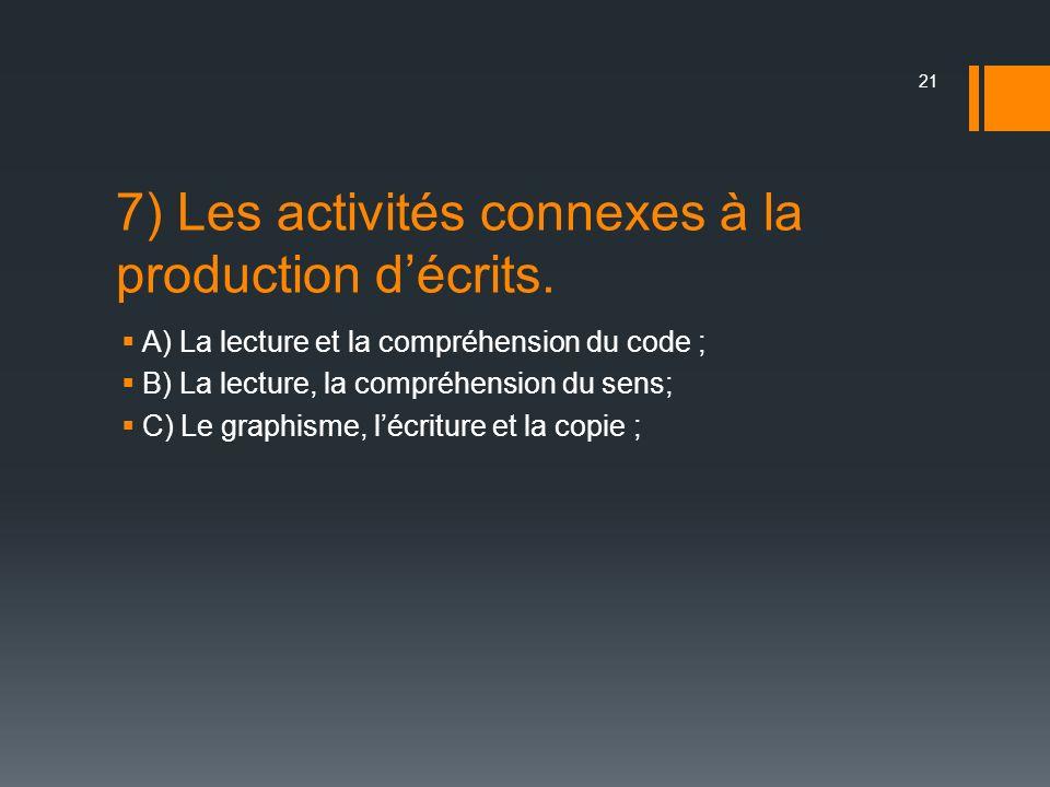 7) Les activités connexes à la production d'écrits.