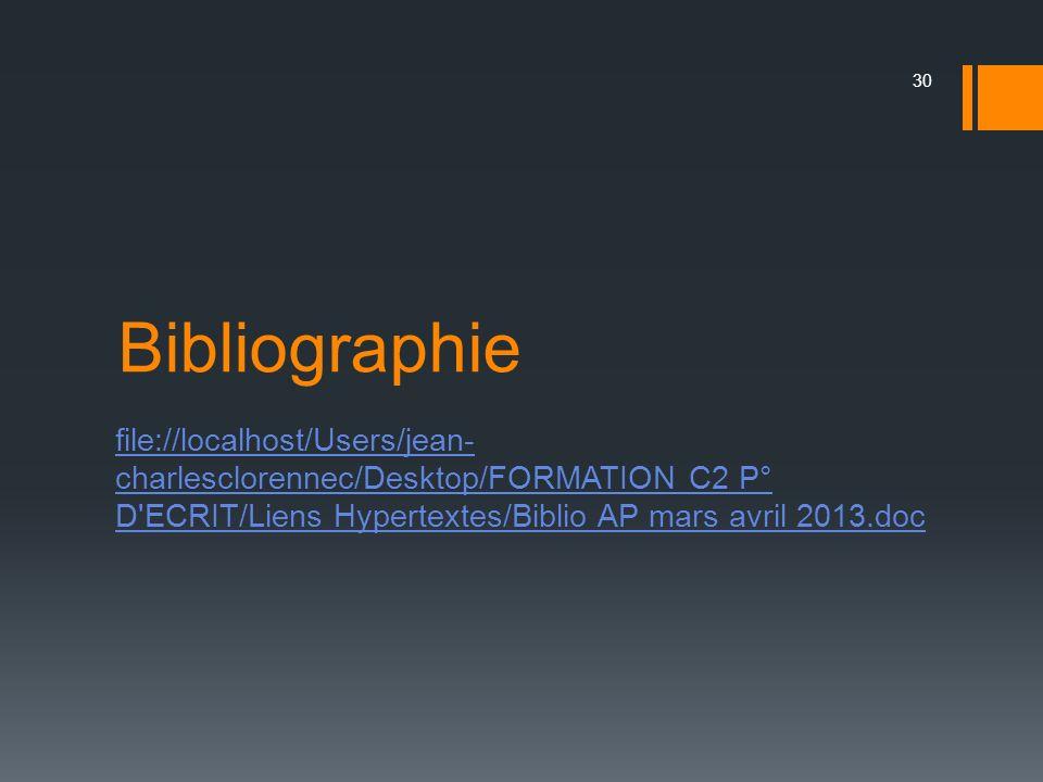 Bibliographie file://localhost/Users/jean-charlesclorennec/Desktop/FORMATION C2 P° D ECRIT/Liens Hypertextes/Biblio AP mars avril 2013.doc.