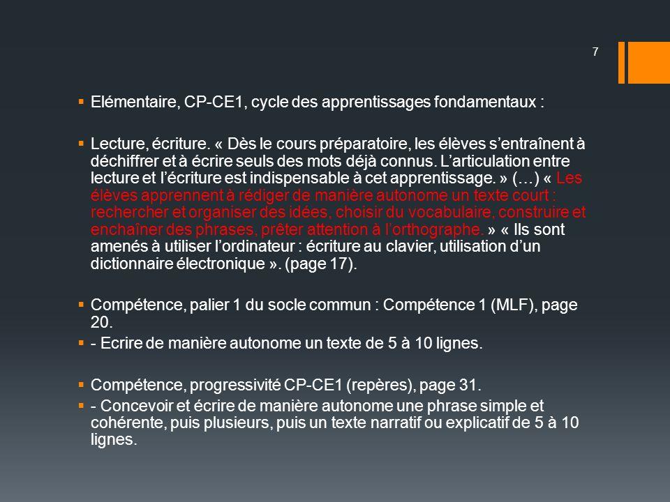 Elémentaire, CP-CE1, cycle des apprentissages fondamentaux :