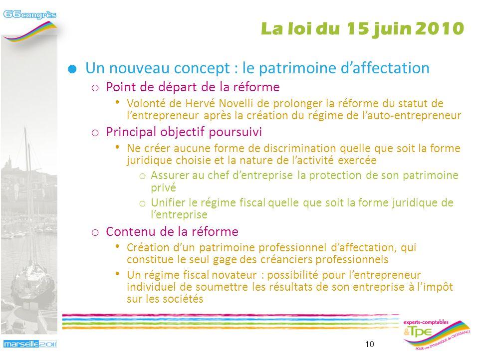 La loi du 15 juin 2010 Un nouveau concept : le patrimoine d'affectation. Point de départ de la réforme.