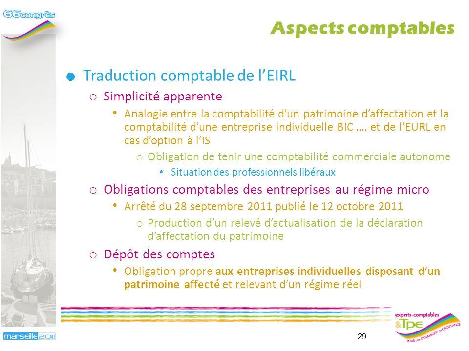 Aspects comptables Traduction comptable de l'EIRL Simplicité apparente