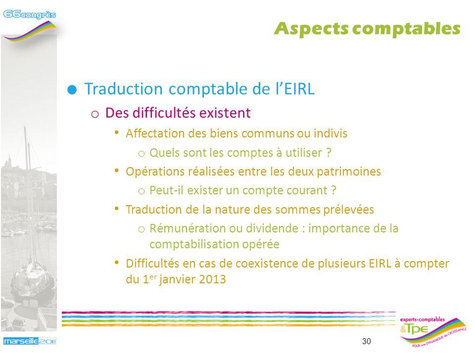 Traduction comptable de l'EIRL