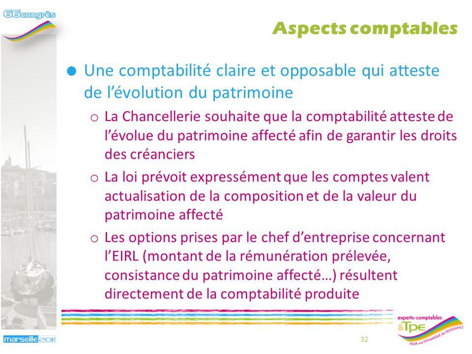 Aspects comptables Une comptabilité claire et opposable qui atteste de l'évolution du patrimoine.