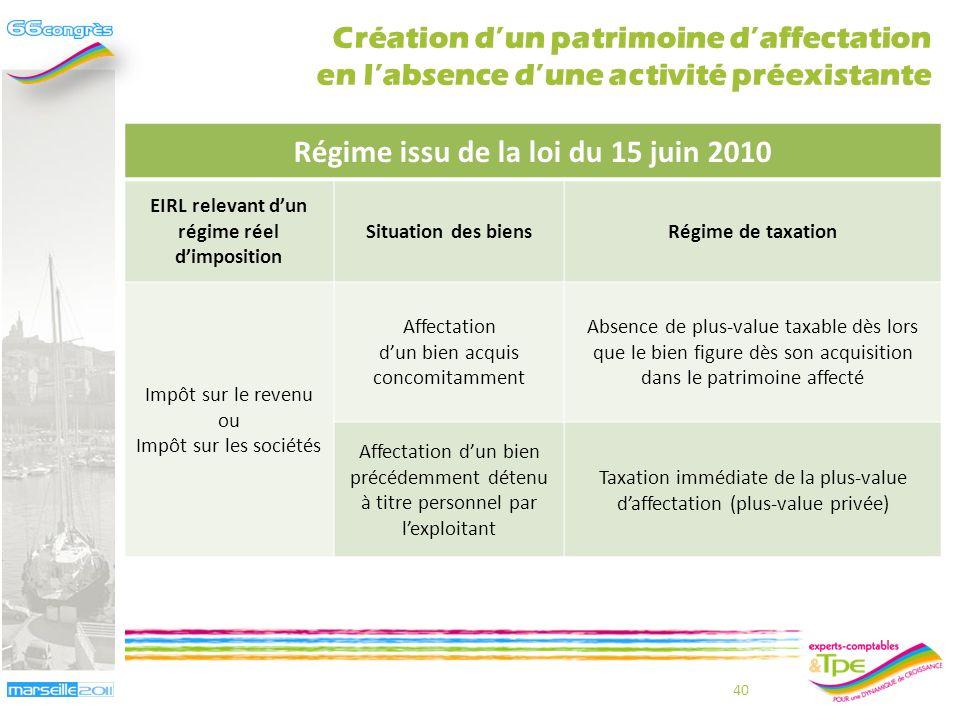 Régime issu de la loi du 15 juin 2010