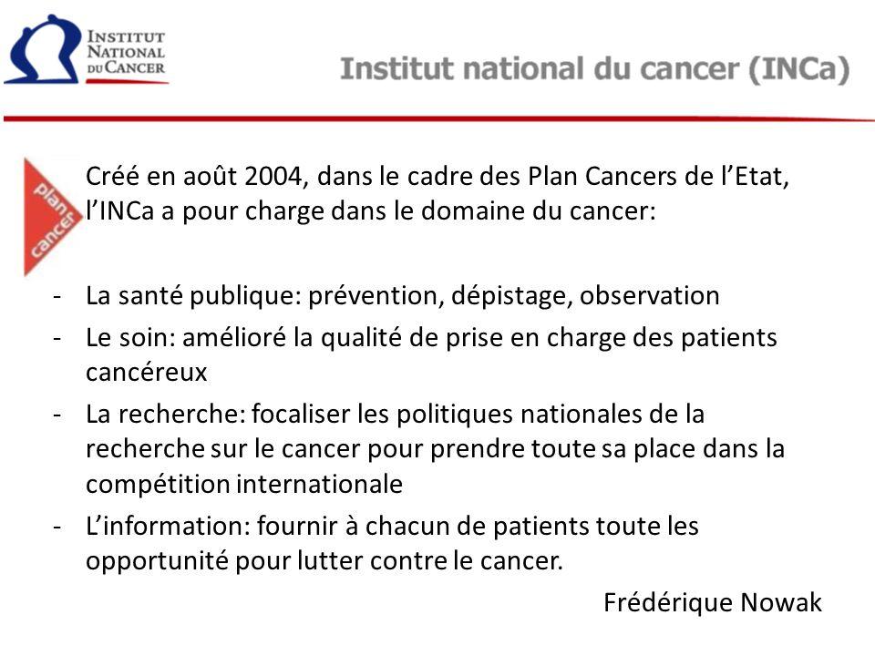 Créé en août 2004, dans le cadre des Plan Cancers de l'Etat, l'INCa a pour charge dans le domaine du cancer: