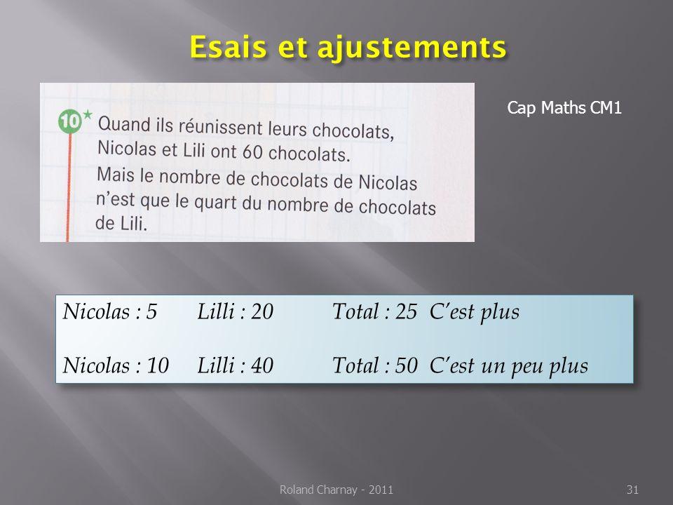 Esais et ajustements Nicolas : 5 Lilli : 20 Total : 25 C'est plus
