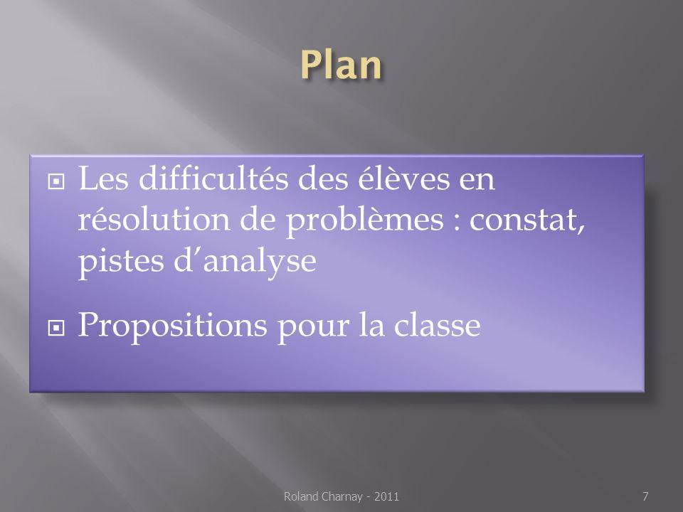 Plan Les difficultés des élèves en résolution de problèmes : constat, pistes d'analyse. Propositions pour la classe.