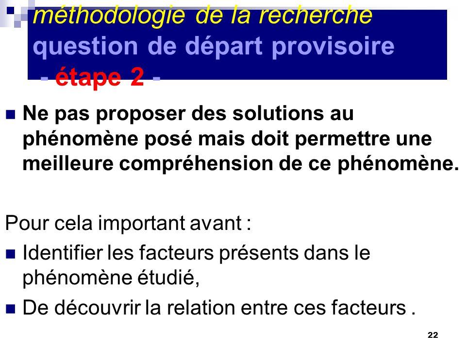méthodologie de la recherche question de départ provisoire - étape 2 -