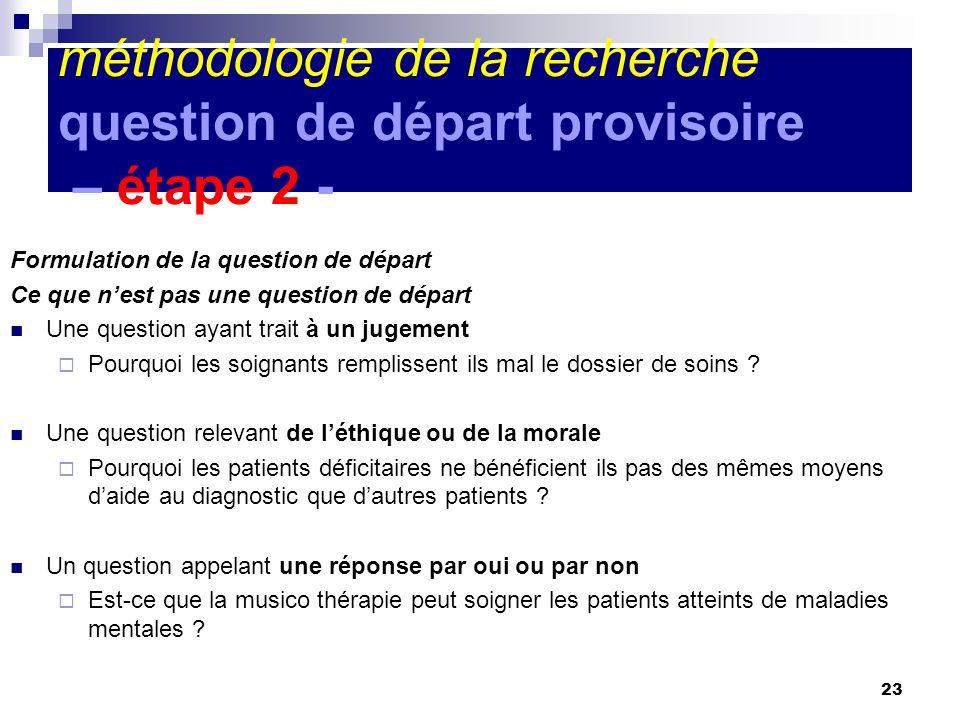 méthodologie de la recherche question de départ provisoire – étape 2 -