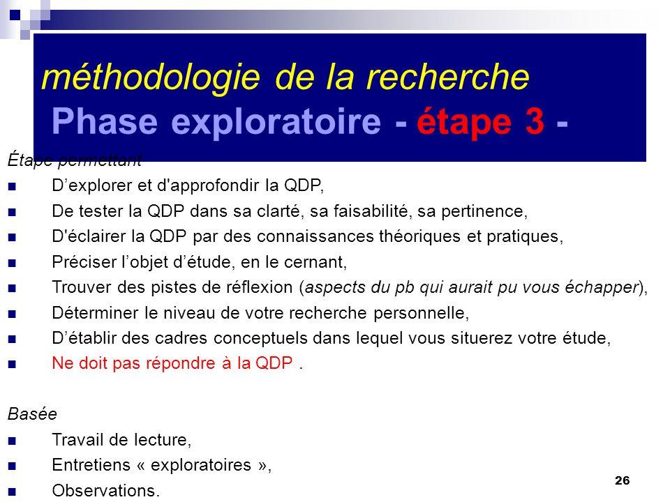 méthodologie de la recherche Phase exploratoire - étape 3 -