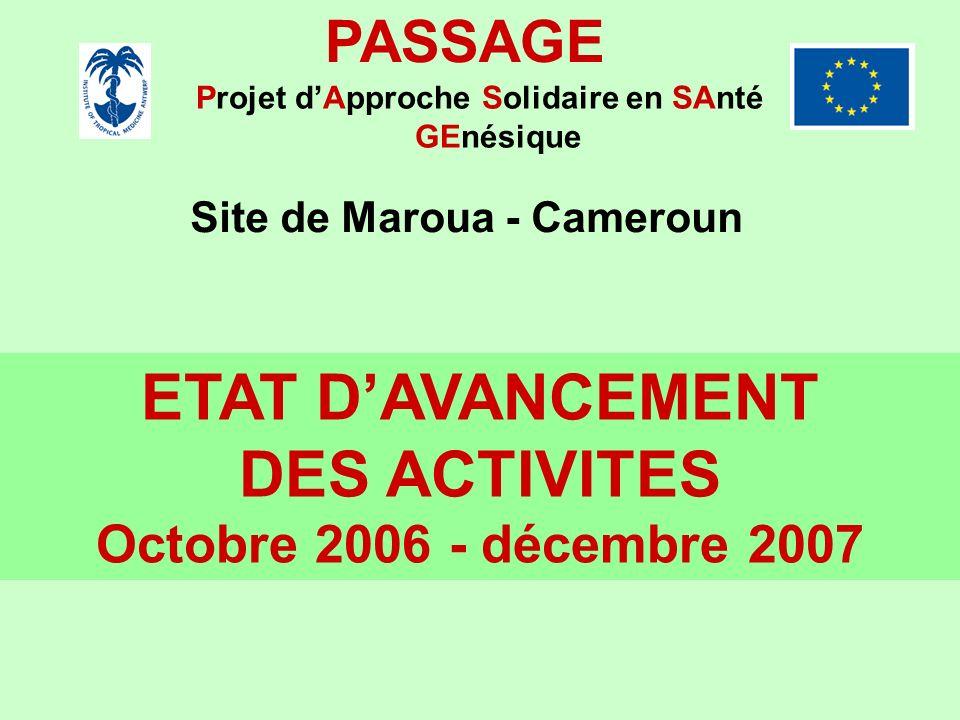 ETAT D'AVANCEMENT DES ACTIVITES