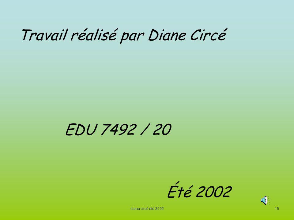 Travail réalisé par Diane Circé