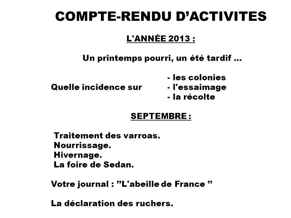 COMPTE-RENDU D'ACTIVITES