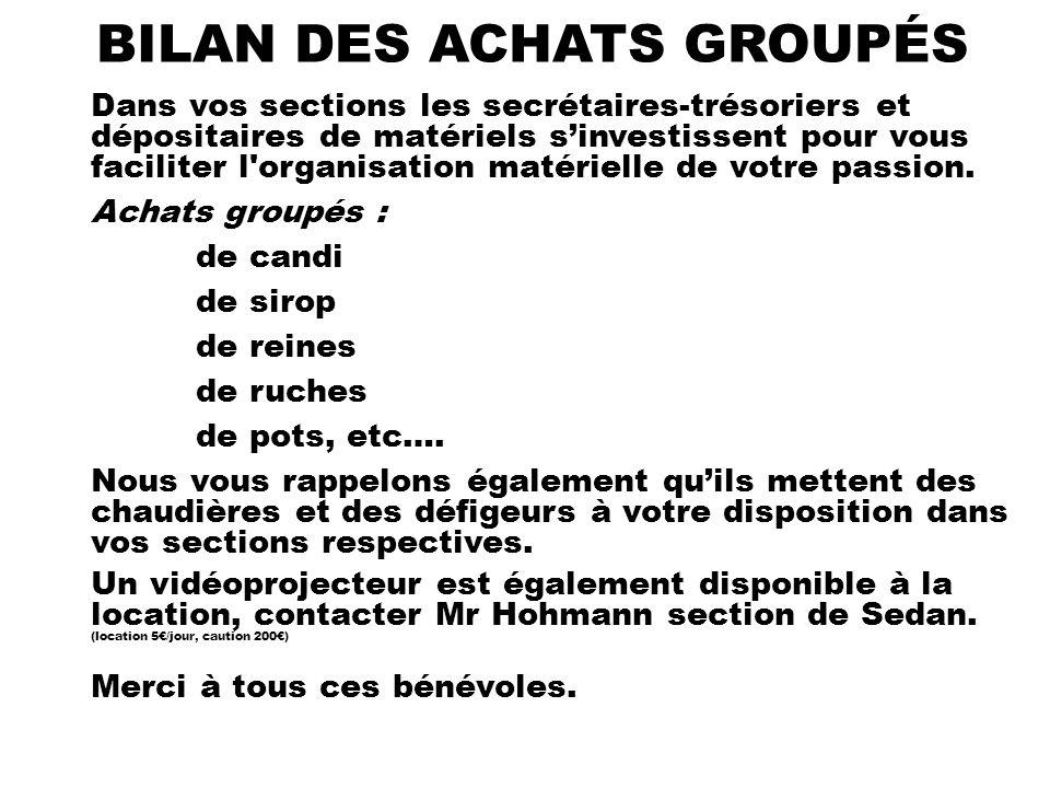 BILAN DES ACHATS GROUPÉS