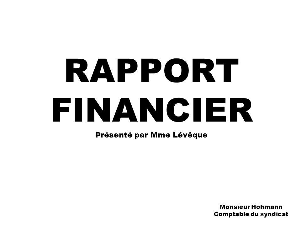 RAPPORT FINANCIER Présenté par Mme Lévêque