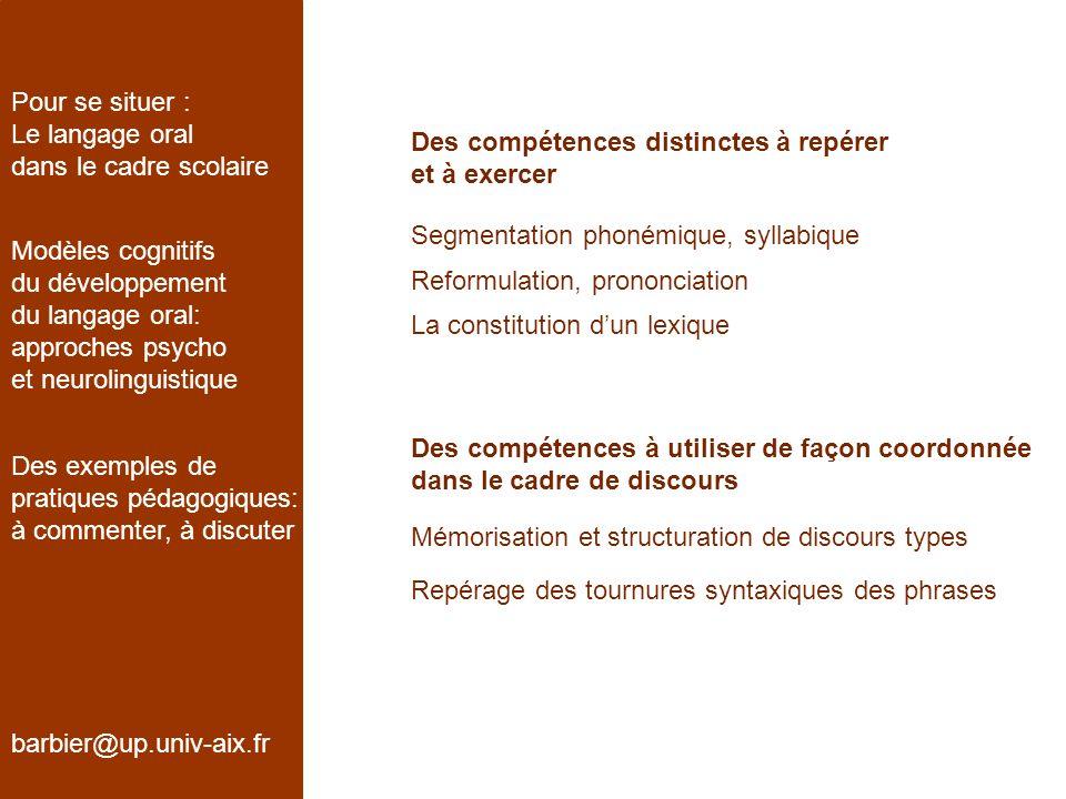 Pour se situer : Le langage oral. dans le cadre scolaire. Des compétences distinctes à repérer. et à exercer.