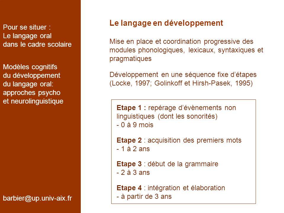 Le langage en développement