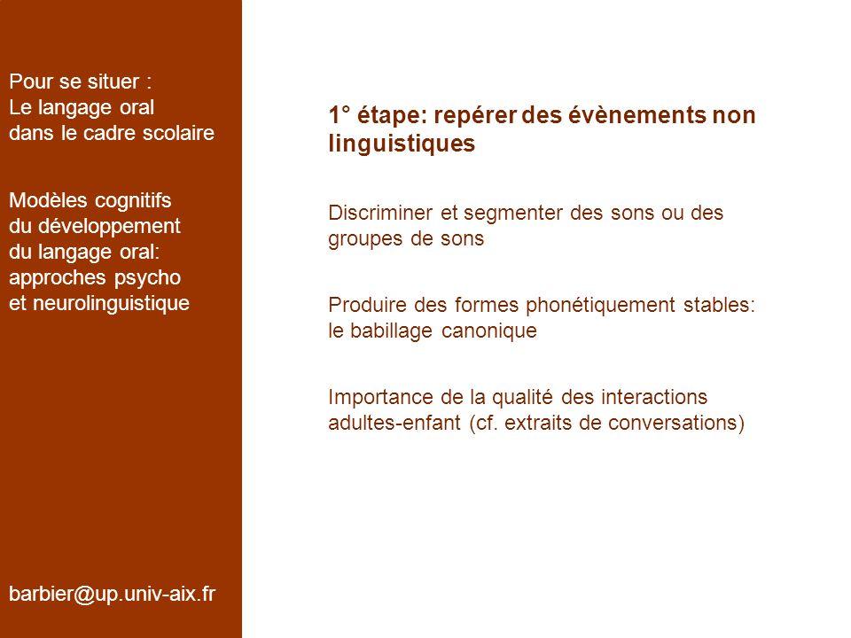 1° étape: repérer des évènements non linguistiques