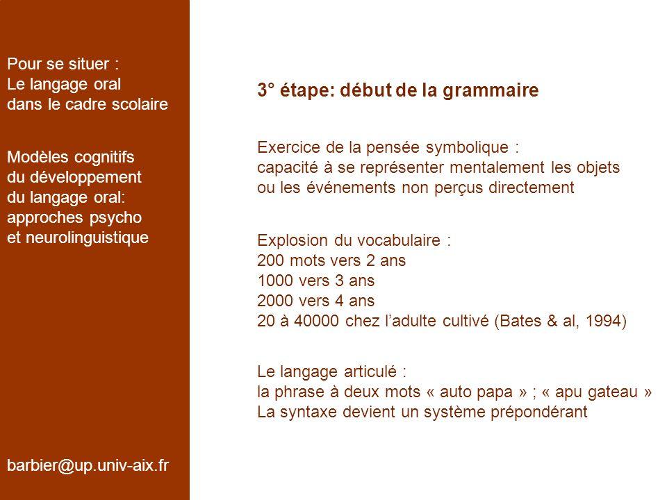 3° étape: début de la grammaire