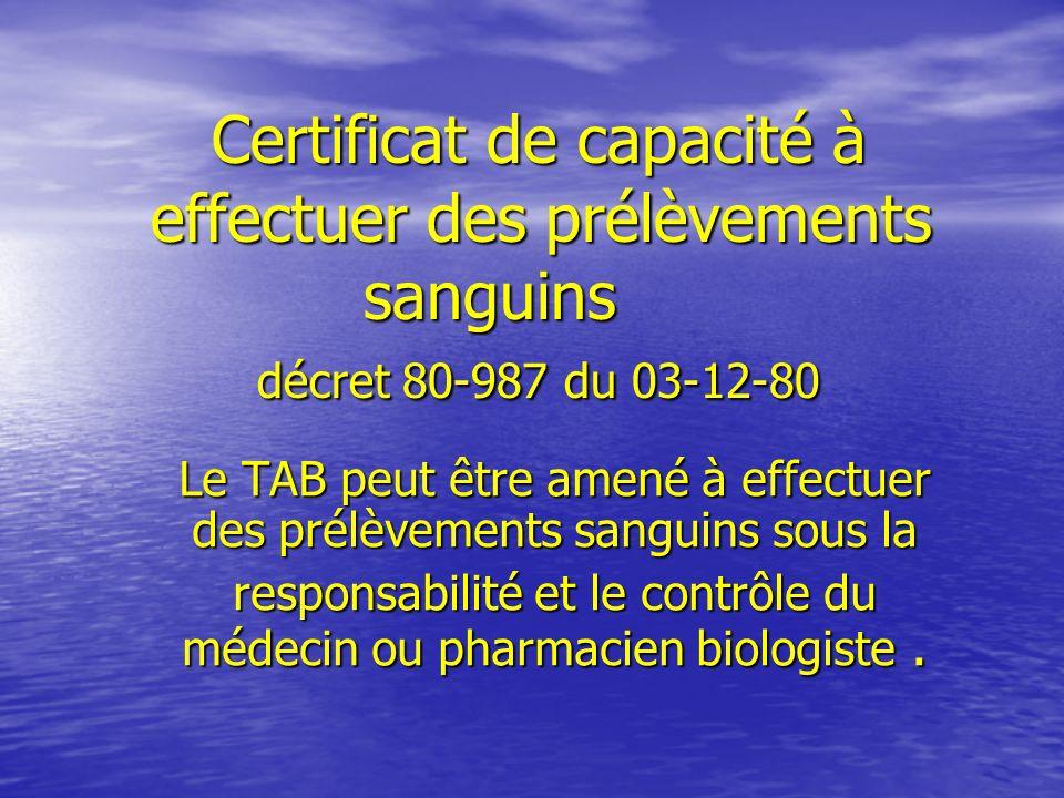 Certificat de capacité à effectuer des prélèvements. sanguins