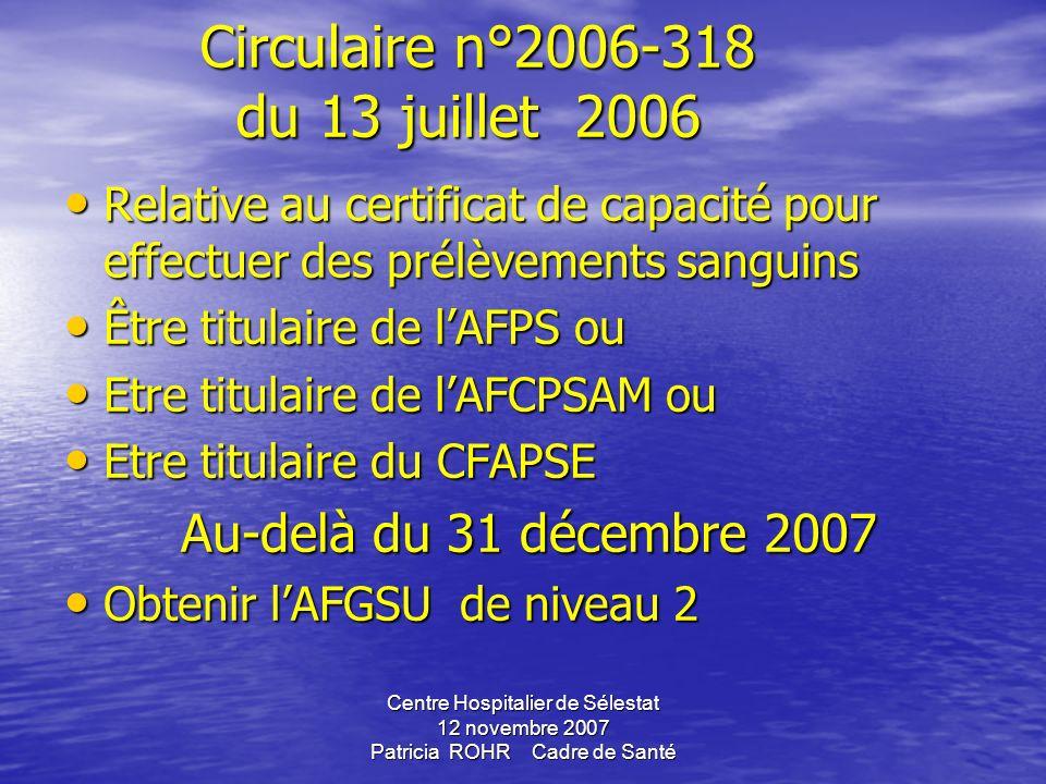Circulaire n°2006-318 du 13 juillet 2006