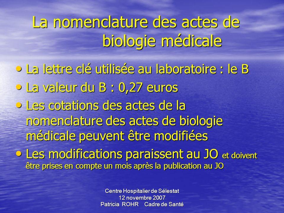 La nomenclature des actes de biologie médicale