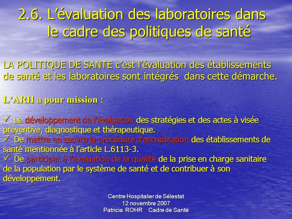 2. 6. L'évaluation des laboratoires dans