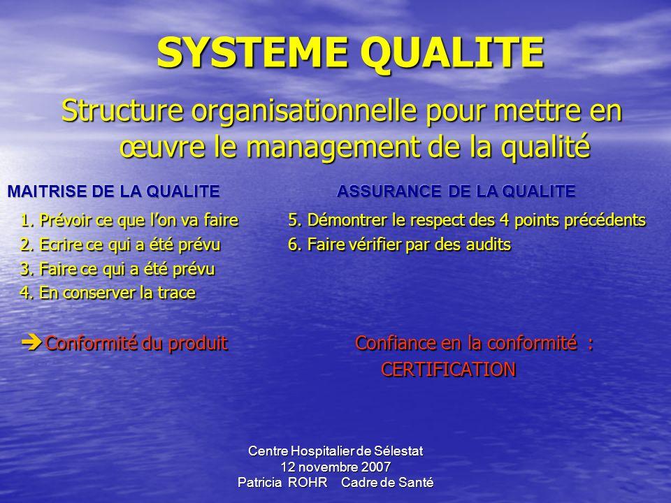 SYSTEME QUALITE Structure organisationnelle pour mettre en œuvre le management de la qualité.