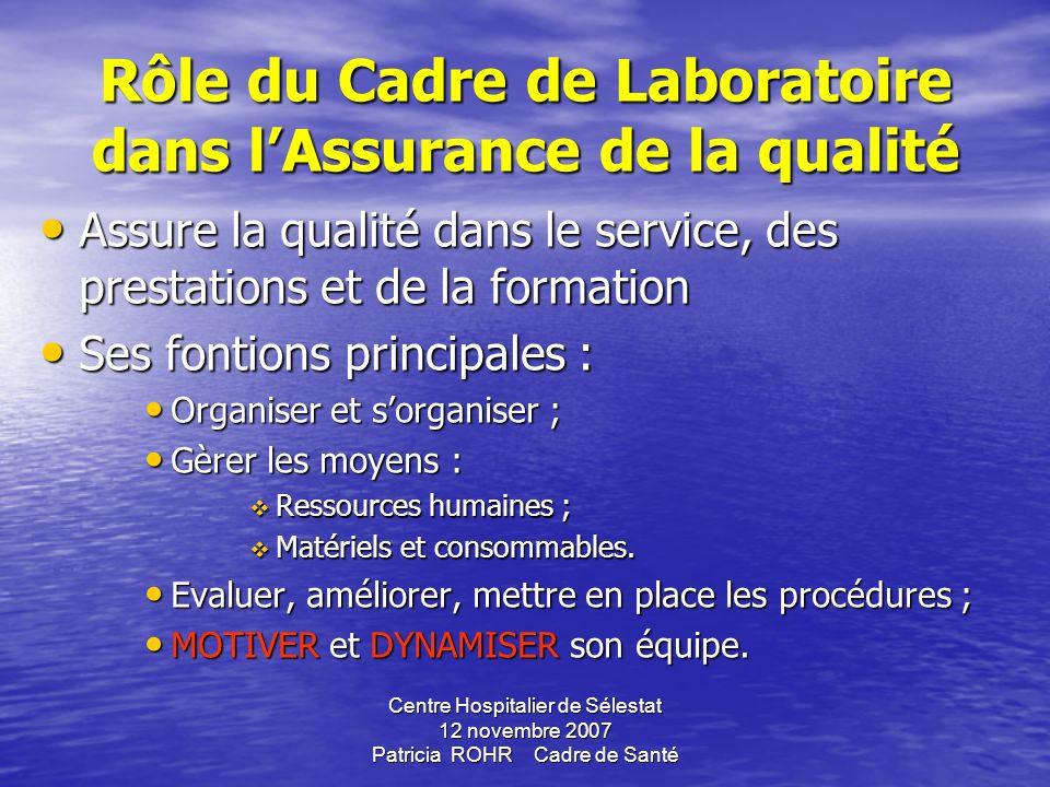 Rôle du Cadre de Laboratoire dans l'Assurance de la qualité