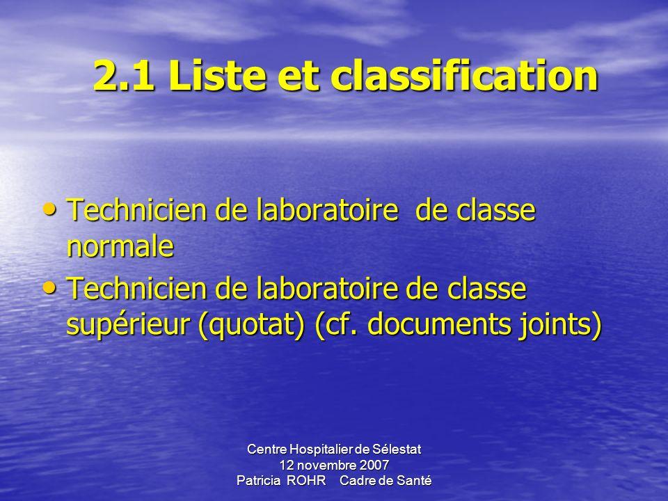 2.1 Liste et classification