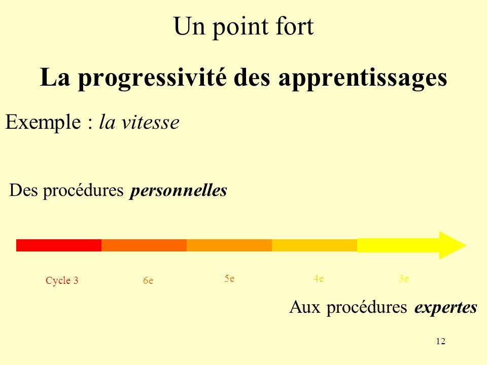 La progressivité des apprentissages