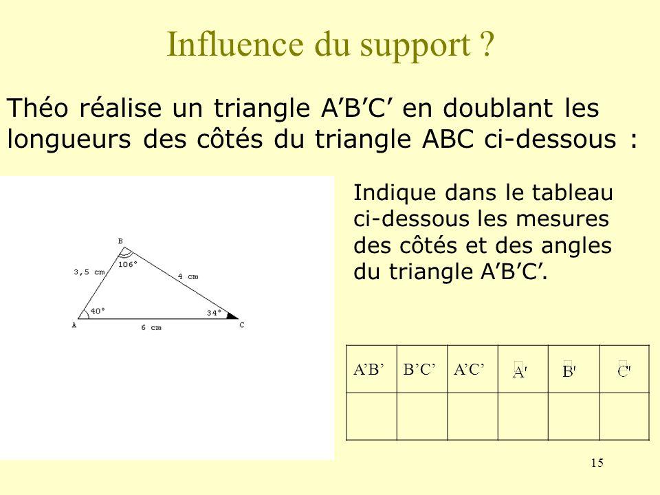 Influence du support Théo réalise un triangle A'B'C' en doublant les longueurs des côtés du triangle ABC ci-dessous :
