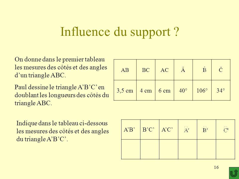 Influence du support On donne dans le premier tableau les mesures des côtés et des angles d'un triangle ABC.