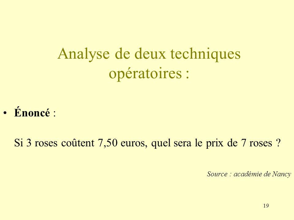 Analyse de deux techniques opératoires :