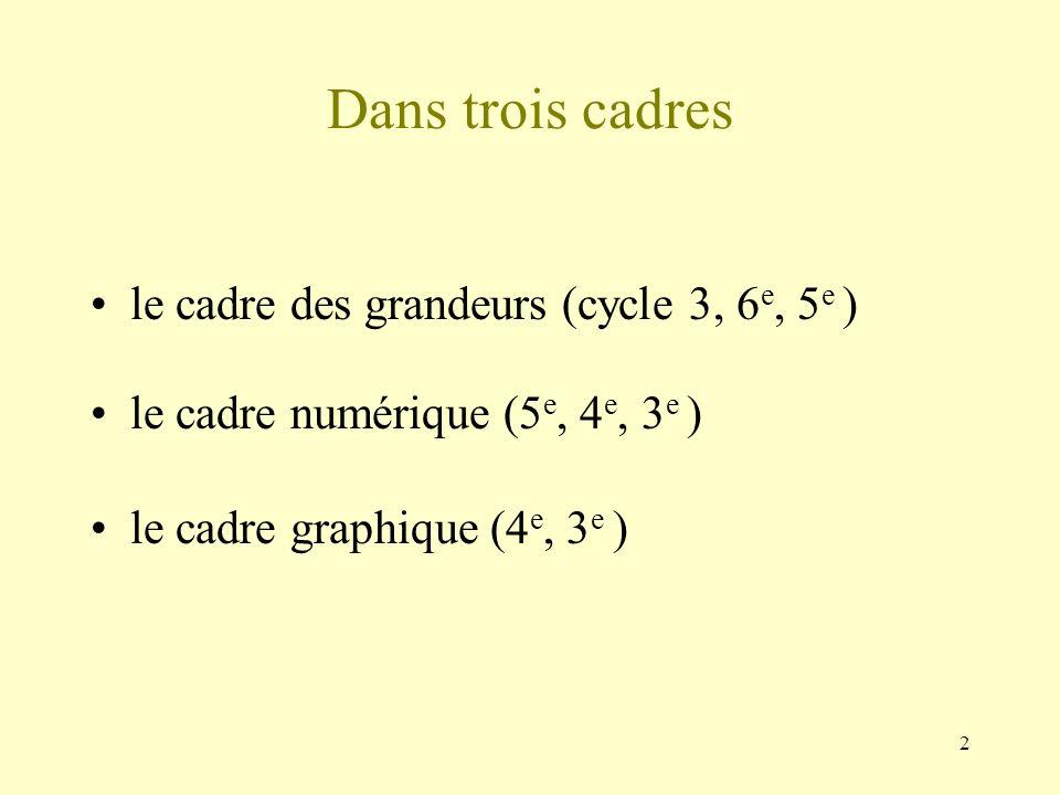 Dans trois cadres le cadre des grandeurs (cycle 3, 6e, 5e )