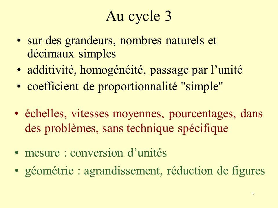Au cycle 3 sur des grandeurs, nombres naturels et décimaux simples