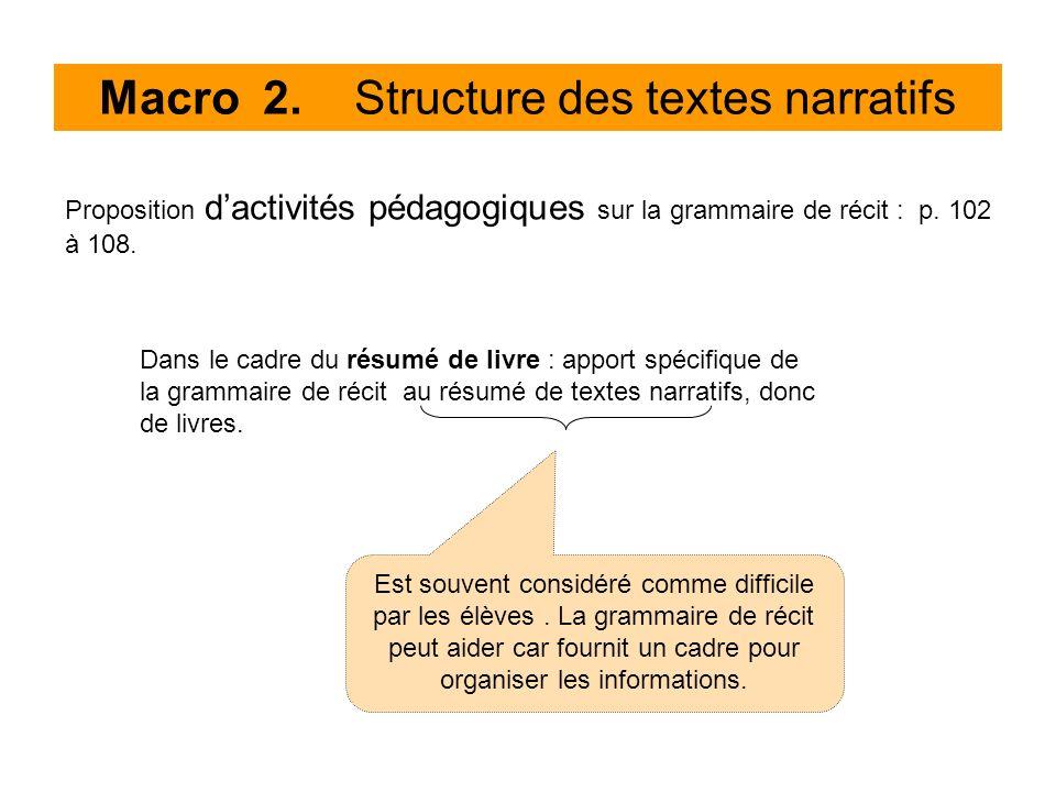 Macro 2. Structure des textes narratifs