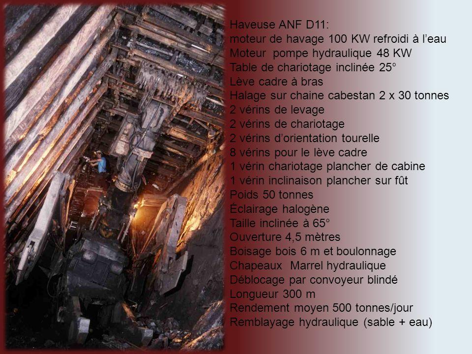 Haveuse ANF D11: moteur de havage 100 KW refroidi à l'eau. Moteur pompe hydraulique 48 KW. Table de chariotage inclinée 25°