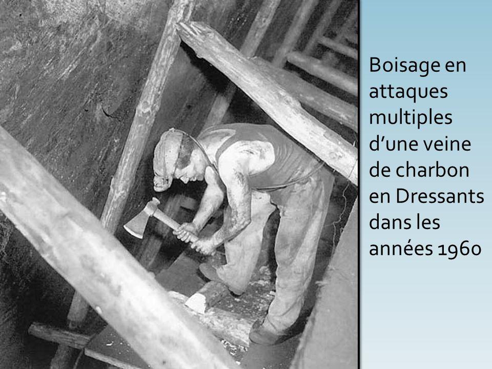 Boisage en attaques multiples d'une veine de charbon en Dressants dans les années 1960