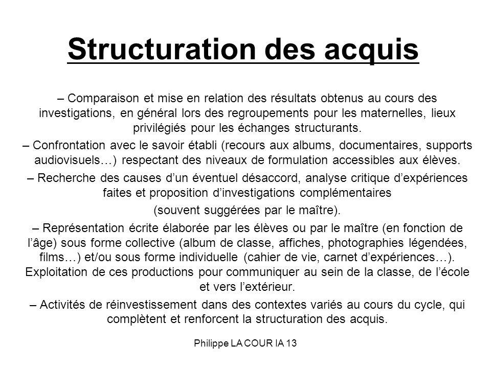 Structuration des acquis