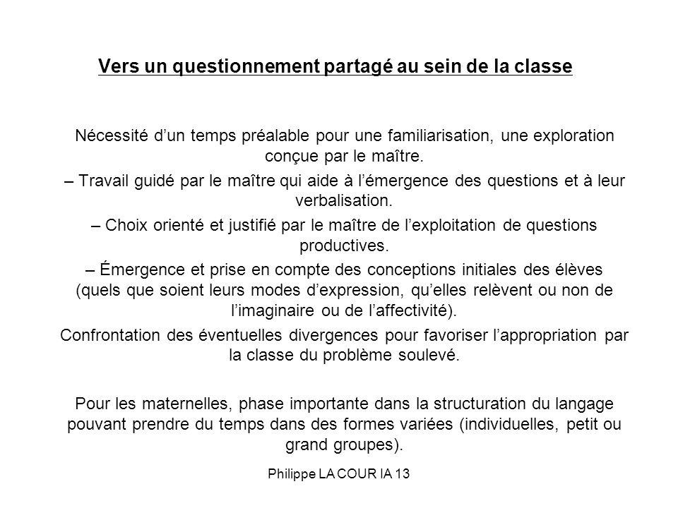 Vers un questionnement partagé au sein de la classe